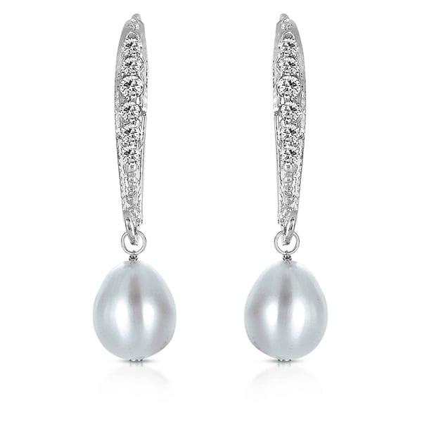 Collette Z Sterling Silver Cubic Zirconia Pearl Dangling Earrings. Opens flyout.