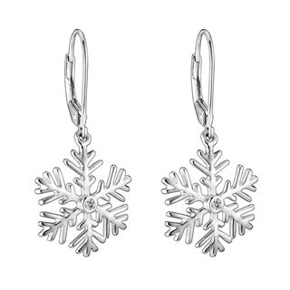 Collette Z Sterling Silver Cubic Zirconia Snowflake Drop Earrings
