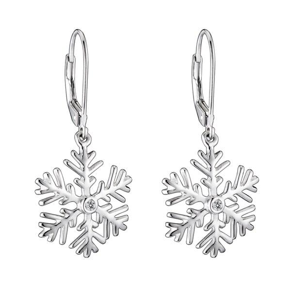 Collette Z Sterling Silver Cubic Zirconia  Snowflake Drop Earrings