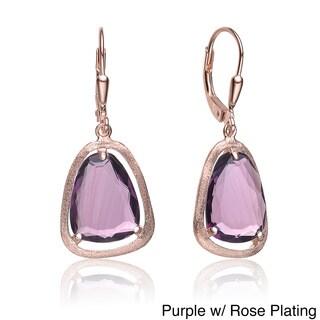 Collette Z Roseplated Sterling Silver Purple Pear Drop Earrings
