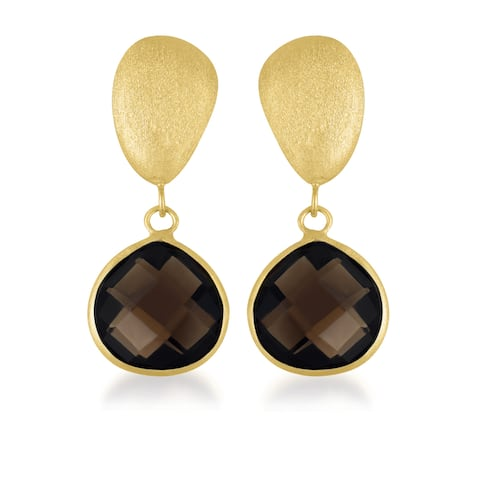 Collette Z Gold over Silver Smokey Quartz Dangle Earrings