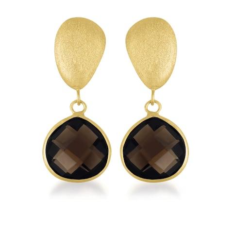 Collette Z Gold over Silver Smokey Quartz Dangle Earrings