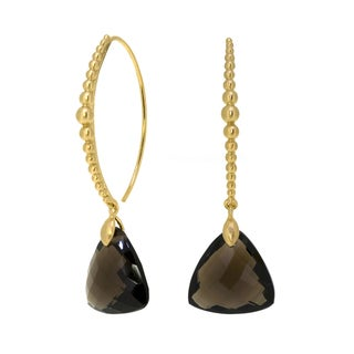 Collette Z Goldplated Sterling Silver Triangle Smokey Quartz Earrings