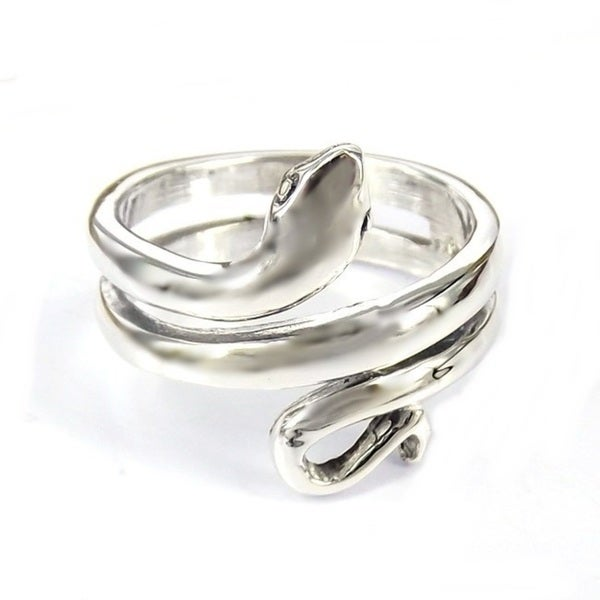 Handmade Rare Snake Wrap Around Sterling Silver Ring (Thailand)