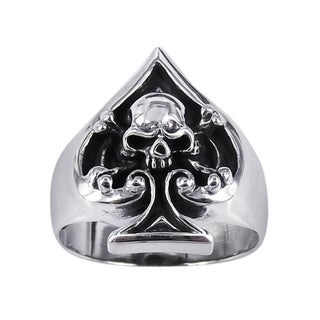 Sterling Silver Unique Skull in Spade Poker Ring (Thailand)