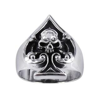 Handmade Sterling Silver Unique Skull in Spade Poker Ring (Thailand)
