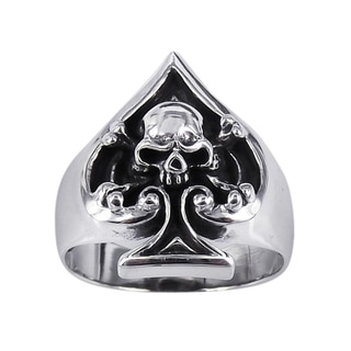 Handmade Sterling Silver Unique Skull in Spade Poker Ring (Thailand)