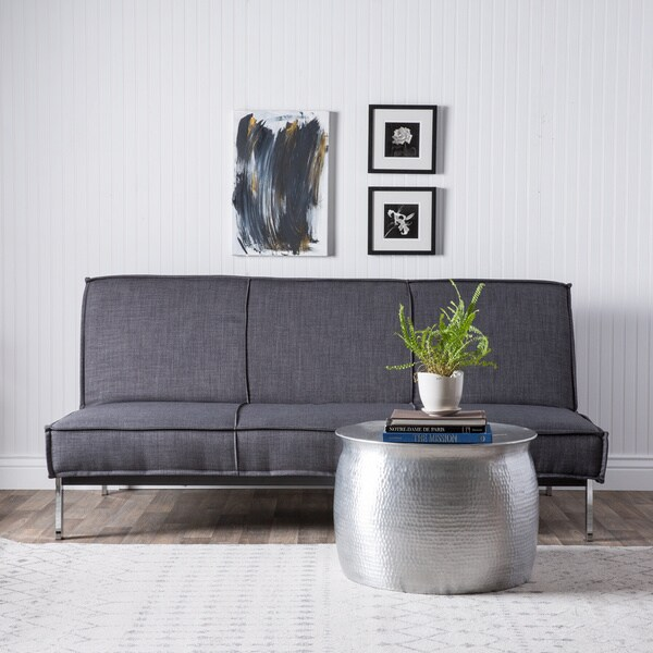 Vitoria 76-inch Charcoal Grey Sleeper Sofa Bed with French Seams