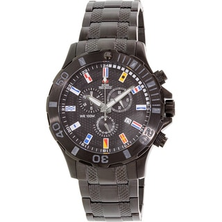 Swiss Precimax Men's 'Armada Pro' Black Dial Swiss Chronograph Stainless-Steel Watch
