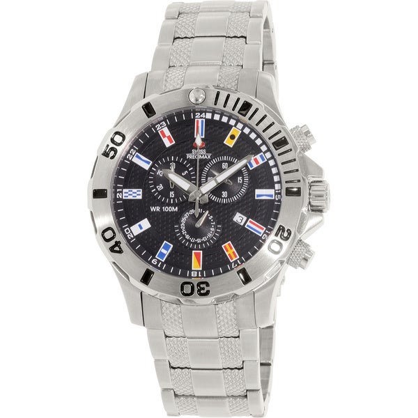 Swiss Precimax Men's 'Armada Pro' Silver/ Black Dial Swiss Chronograph Watch