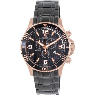 Swiss Precimax Men's 'Tarsis Pro' Black/ Rose Goldtone Swiss Chronograph Watch