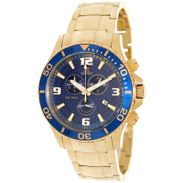 Swiss Precimax Men's 'Tarsis Pro' Goldtone/ Blue Dial Swiss Chronograph Watch