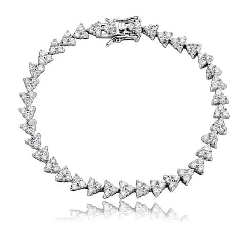 Collette Z Sterling Silver Cubic Zirconia Triangle Link Bracelet