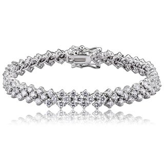 Collette Z Sterling Silver Cubic Zirconia 3-row Tennis Bracelet