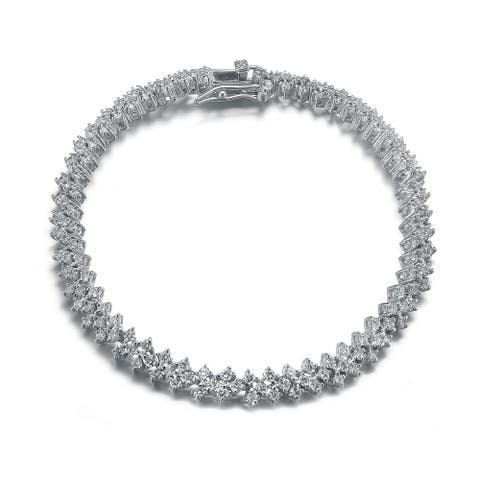 Collette Z Sterling Silver with Rhodium Plated Clear Round Cubic Zirconia Three Row Tennis Bracelet
