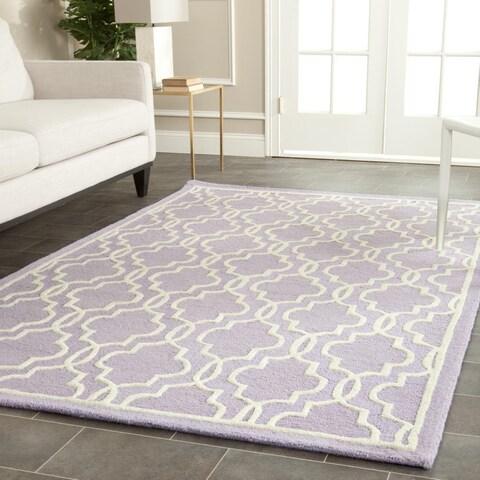 Safavieh Handmade Cambridge Moroccan Lavander/Ivory Wool Rug - 6' x 6' Square