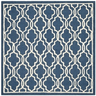 Contemporary Safavieh Handmade Cambridge Moroccan Navy Wool Rug (6' Square)