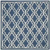 Contemporary Safavieh Handmade Cambridge Moroccan Navy Wool Rug - 6' Square