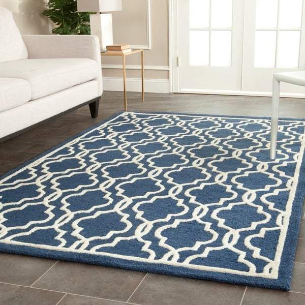 Safavieh handmade moroccan cambridge navy wool area rug 8 for Dining room rugs 9x12