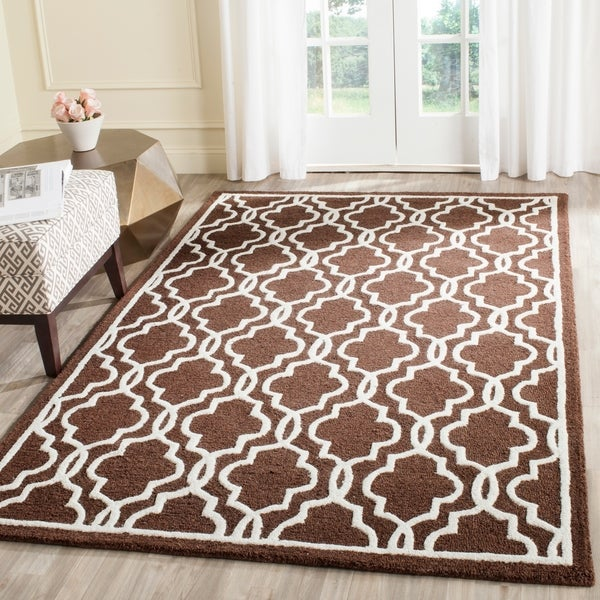 Safavieh Handmade Moroccan Cambridge Dark Brown Wool Rug - 8' x 10'
