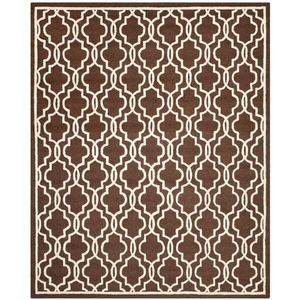 Safavieh Handmade Moroccan Cambridge Dark Brown Wool Rug (8' x 10')