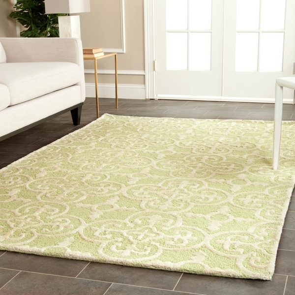 Safavieh Handmade Cambridge Moroccan Light Green Cotton-Canvas Wool Rug - 9' x 12'