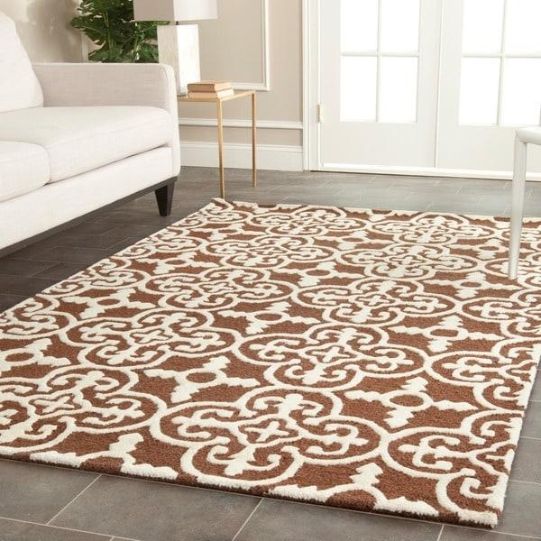 Safavieh Handmade Cambridge Moroccan Dark Brown Geometric Wool Rug - 8' x 10'