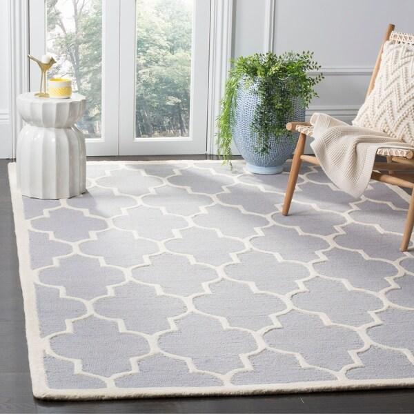 Safavieh Handmade Moroccan Cambridge Trellis-pattern Silver Wool Rug - 9' x 12'