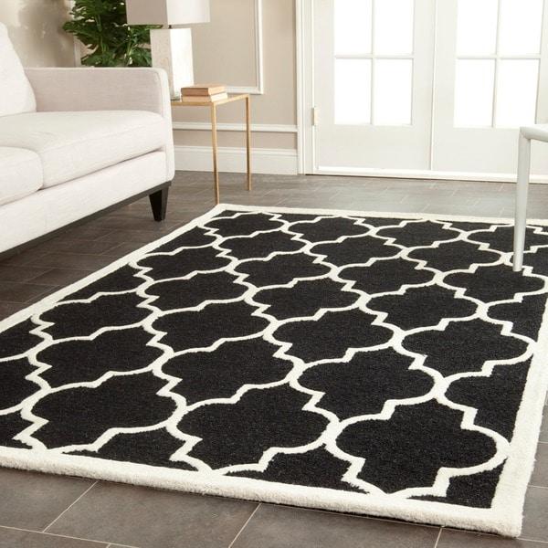 Safavieh Handmade Cambridge Moroccan Black Geometric Wool Rug (9' x 12')