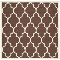 Safavieh Handmade Moroccan Cambridge Dark Brown Wool Rug - 6' x 6' Square