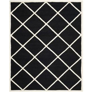 Geometric Safavieh Handmade Cambridge Moroccan Black and Ivory Wool Rug (8' x 10')