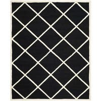 Geometric Safavieh Handmade Cambridge Moroccan Black and Ivory Wool Rug (8' x 10')