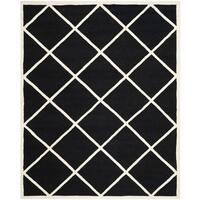 Geometric Safavieh Handmade Cambridge Moroccan Black and Ivory Wool Rug - 8' x 10'