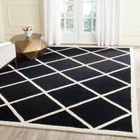 Geometric Safavieh Handmade Cambridge Moroccan Black and Ivory Wool Rug - 8' x 10'
