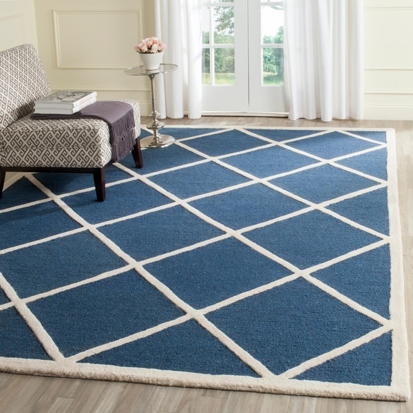 Safavieh Handmade Cambridge Moroccan Diamond Pattern Navy Wool Rug - 8' x 10'