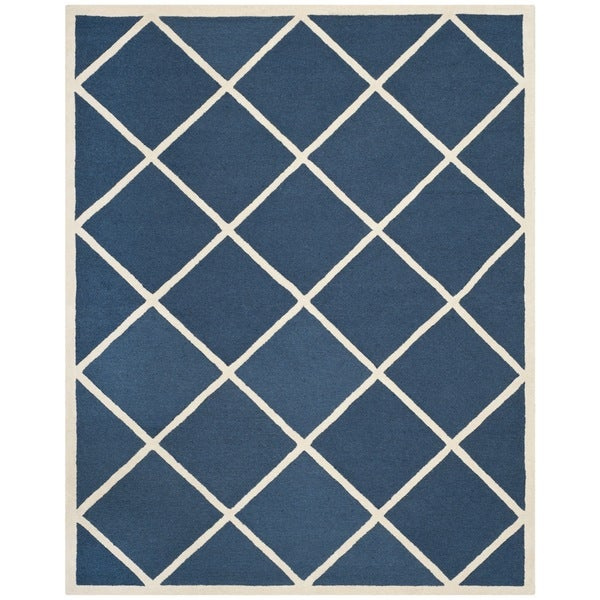 Safavieh Handmade Cambridge Moroccan Diamond Pattern Navy Wool Rug - 8' x 10'