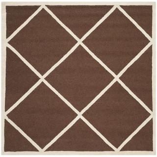Diamond Patterned Safavieh Handmade Cambridge Moroccan Dark Brown Wool Rug (6' Square)