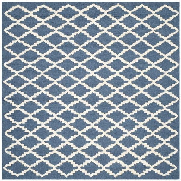 Modern Safavieh Handmade Cambridge Moroccan Navy Wool Rug - 6' Square
