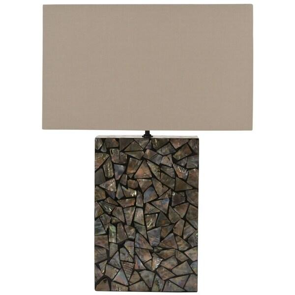 Safavieh Lighting 16.5-inch Mosaic Brown Mother Pearl Lamp