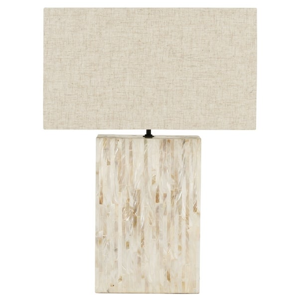 Safavieh Lighting 16.5-inch Athena Mother Pearl Tile Lamp