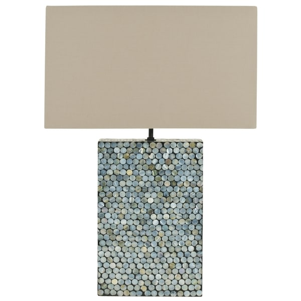 Safavieh Lighting 16.5-inch Cassandra Blue Mother Of Pearl Table Lamp