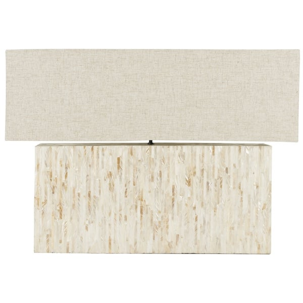 Safavieh Lighting 15.8-inch Ayers Mother-of-Pearl Tile Lamp with Rectangular Shade