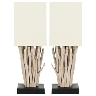 Safavieh Lighting 19.7-inch Aspen White Washed Wood Branch Table Lamps (Set of 2)