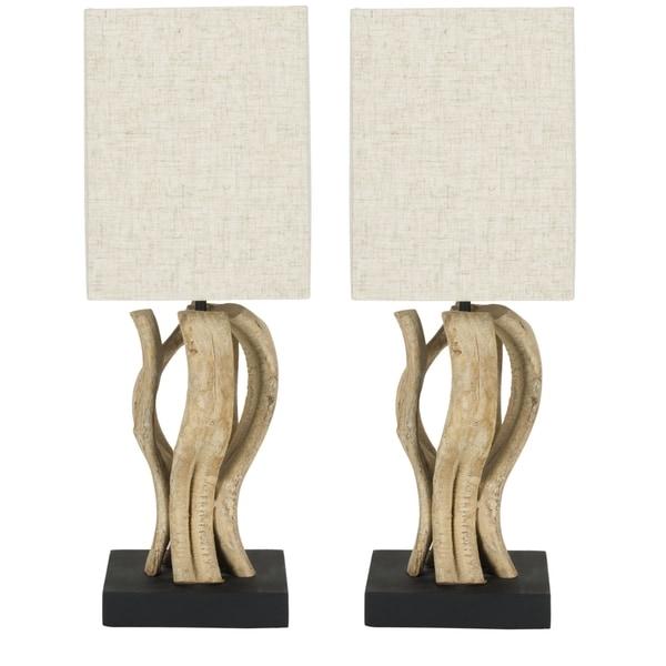 Safavieh Lighting 19.7-inch Evangeline Bleached Wood Vine Table Lamps (Set of 2)