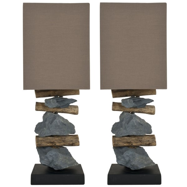 Safavieh Lighting 19.7-inch Highlander Natural Stone Table Lamps (Set of 2) Two)