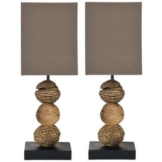 Safavieh Lighting 19.7-inch Samantha Natural Wood Table Lamps (Set of 2)