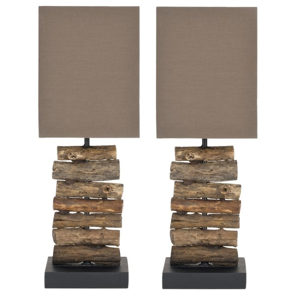 Safavieh Lighting 19.7-inch Woodland Natural Wood Table Lamps (Set of 2)