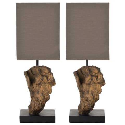 Safavieh Lighting 20-inch Uragon Natural Wood Root Table Lamp (Set of 2)