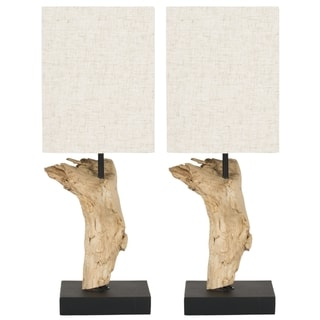 Safavieh Lighting 19.7-inch Uragon Bleached Wood Root Table Lamps (Set of 2)