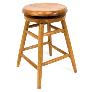 Solid Medium Oak Backless Saddle Swivel 24-inch Counter Height Barstool
